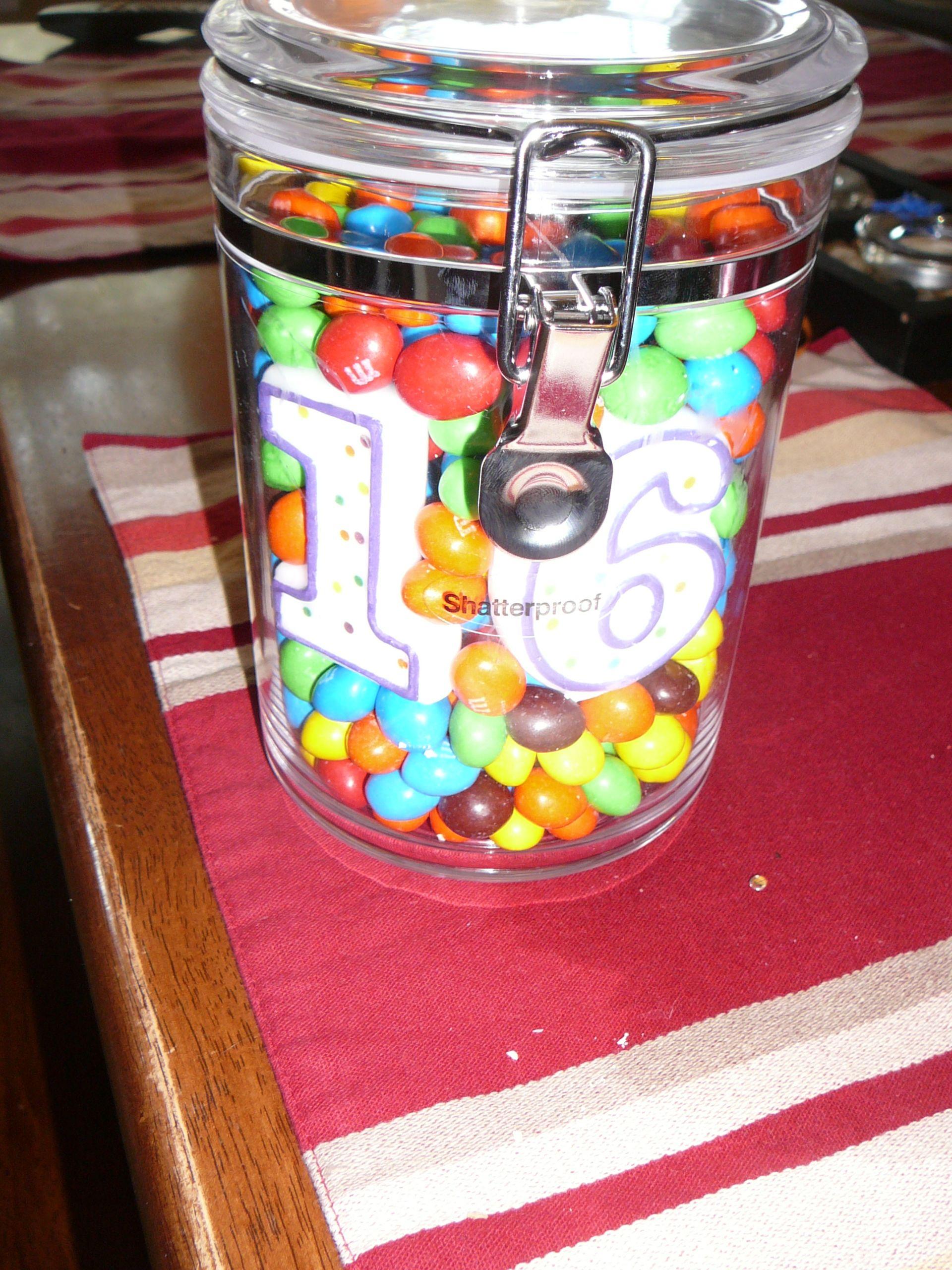 16th birthday candy in mason jar sweet 16 birthday party