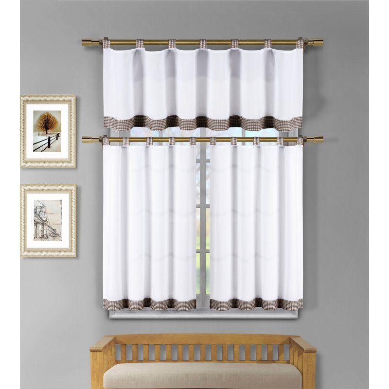 Duck River Tatum Microfiber 3 Piece Kitchen Curtain Set White Chocolate Takwc 12 4272 White Kitchen Windows