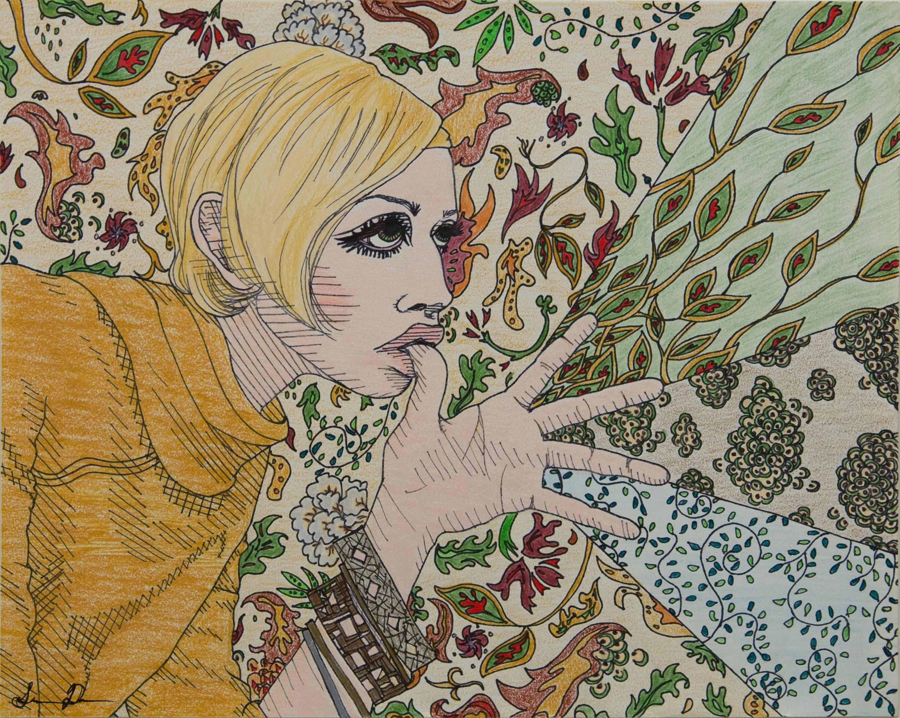 """Autumnal Floration. 11""""x14"""" Color pencil and pen on paper. By Los Angeles based Artist: Shelby Andre Date. www.shelbyandredate.com"""