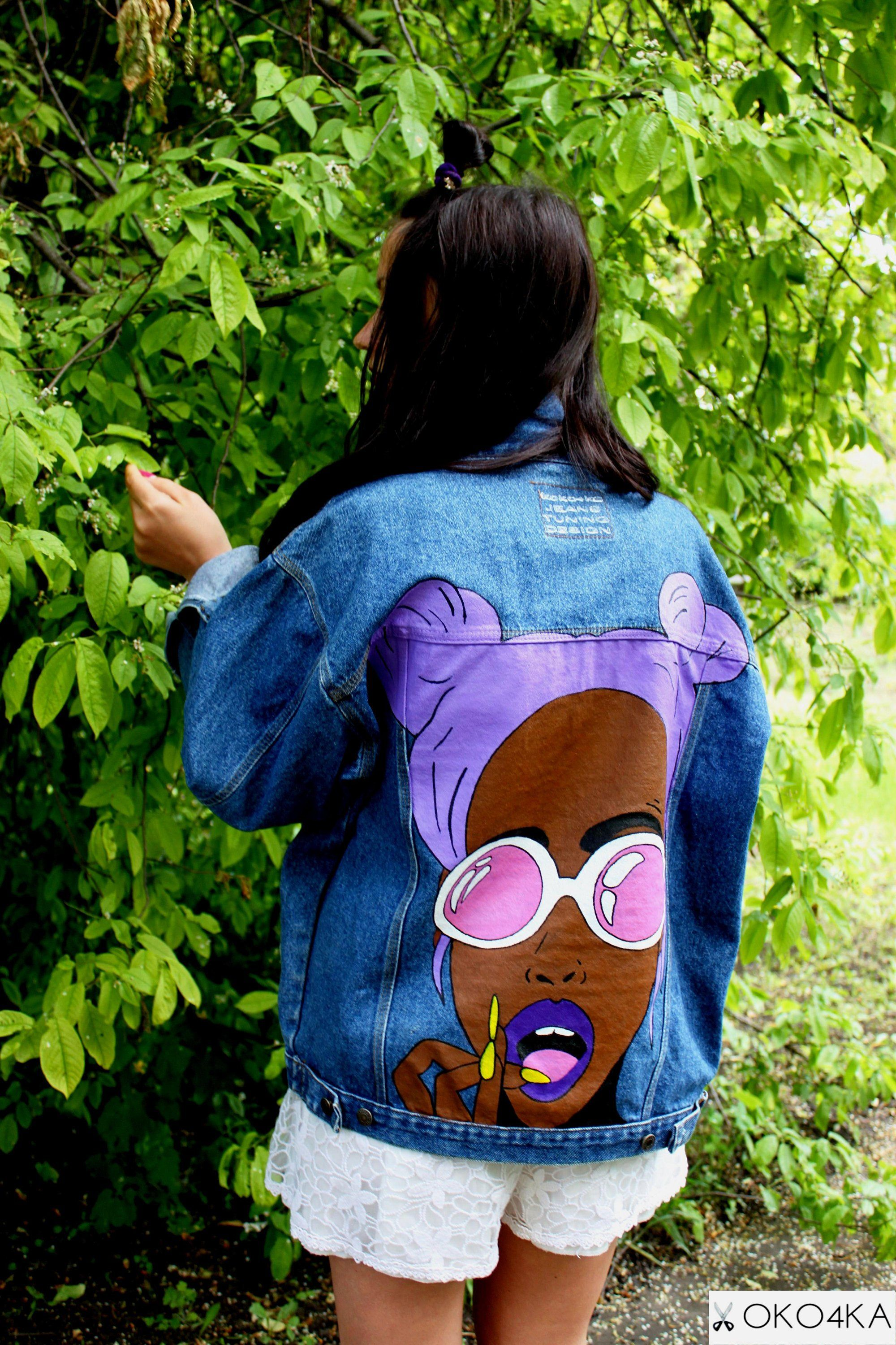 Hand painted denim jacket with painting jacket with art