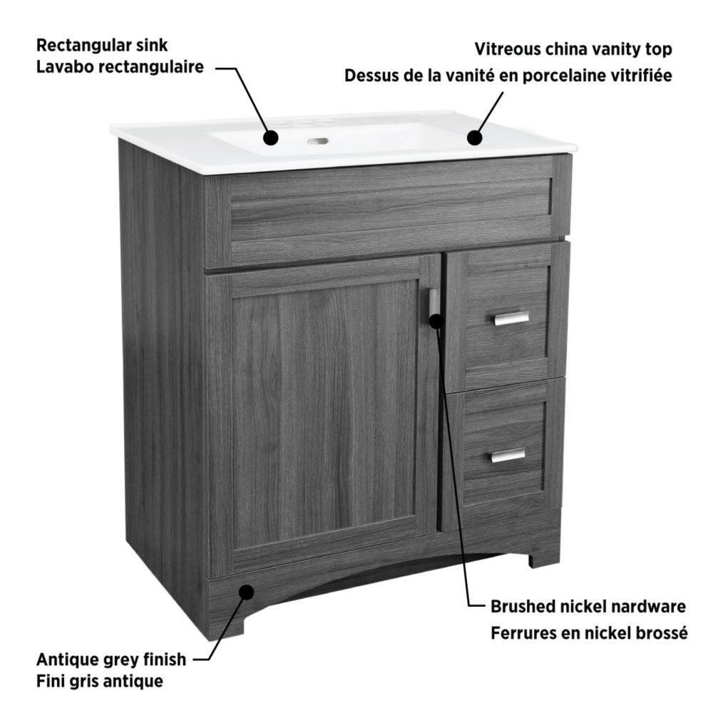 Glacier Bay Rocara 30 Inch W Vanity In Grey With Vitreous China Top In White And Rectangul The Home Depot Canada Vanity 24 Inch Vanity Shaker Style Doors