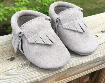 Ready To Ship Grey Suede Baby Moccasins by ThisLittlePiggyMoccs