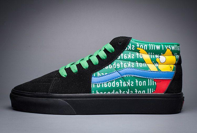37a7f42cb67b05 Vans x The Simpsons Mid Tops Black Green Skate Shoes  Vans