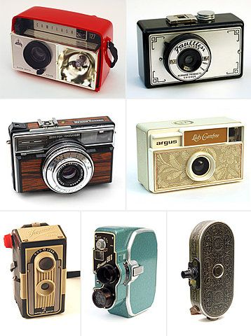 Vintage cameras; pre-digital and pre-photoshop...   Even back then photos were very nice. From an artistically conservative standpoint, some practitioners believe that the use of film offers a more authentic mode of expression than with easily enhanced digital images. (think: Ansel Adams)