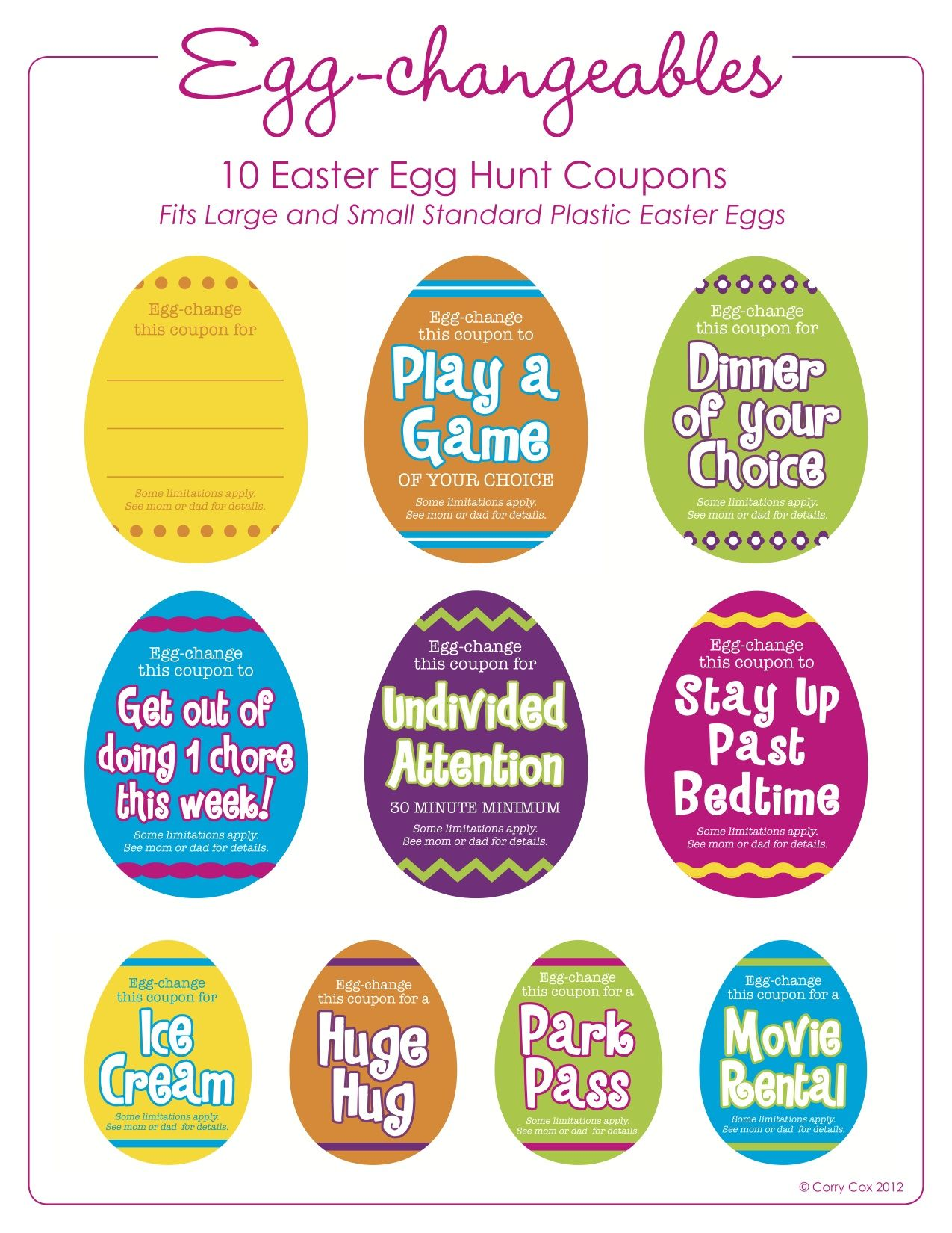 Egg hunt coupons in bright colors easter egg fillers