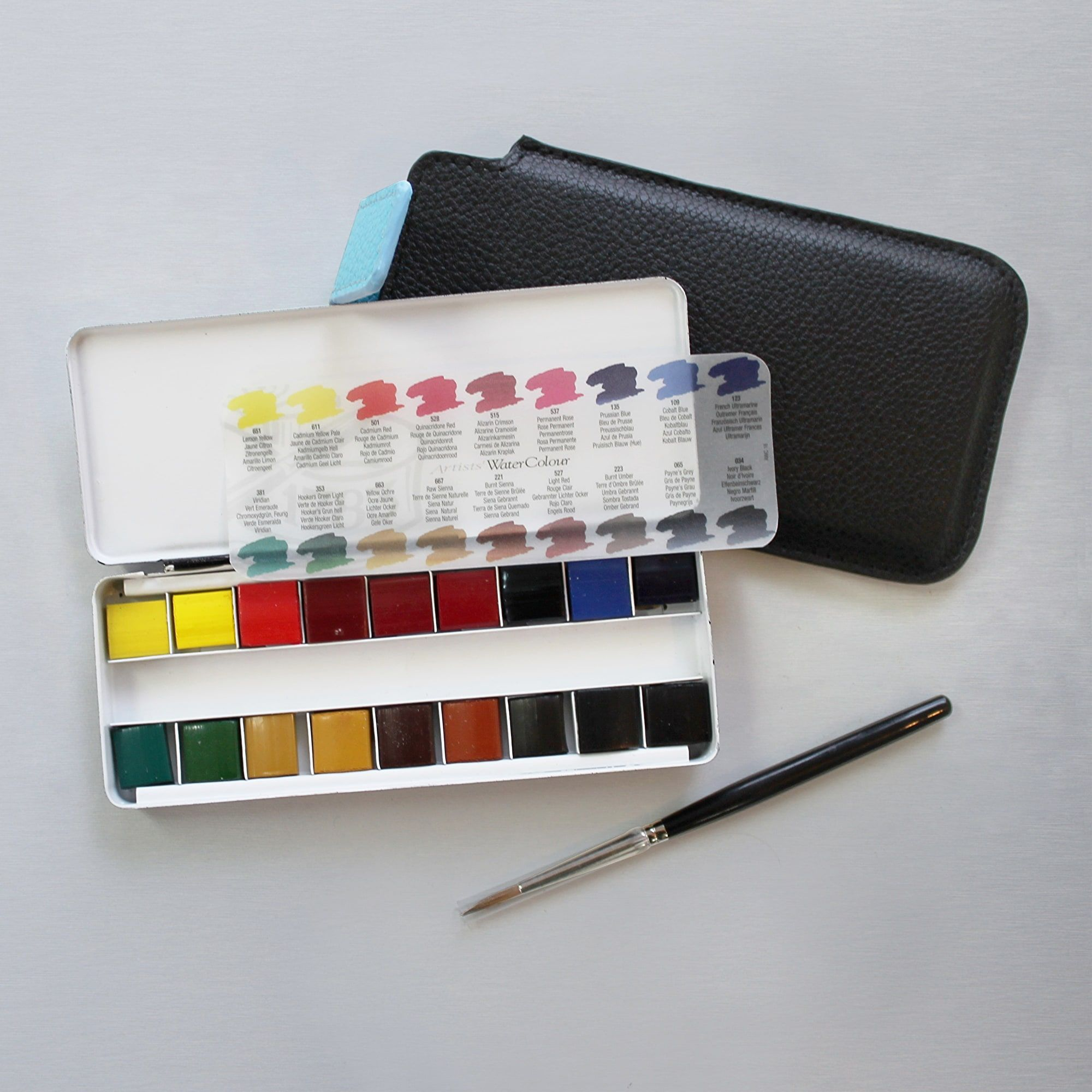Professional Watercolour Quarter Pan Brush In Travel Pouch