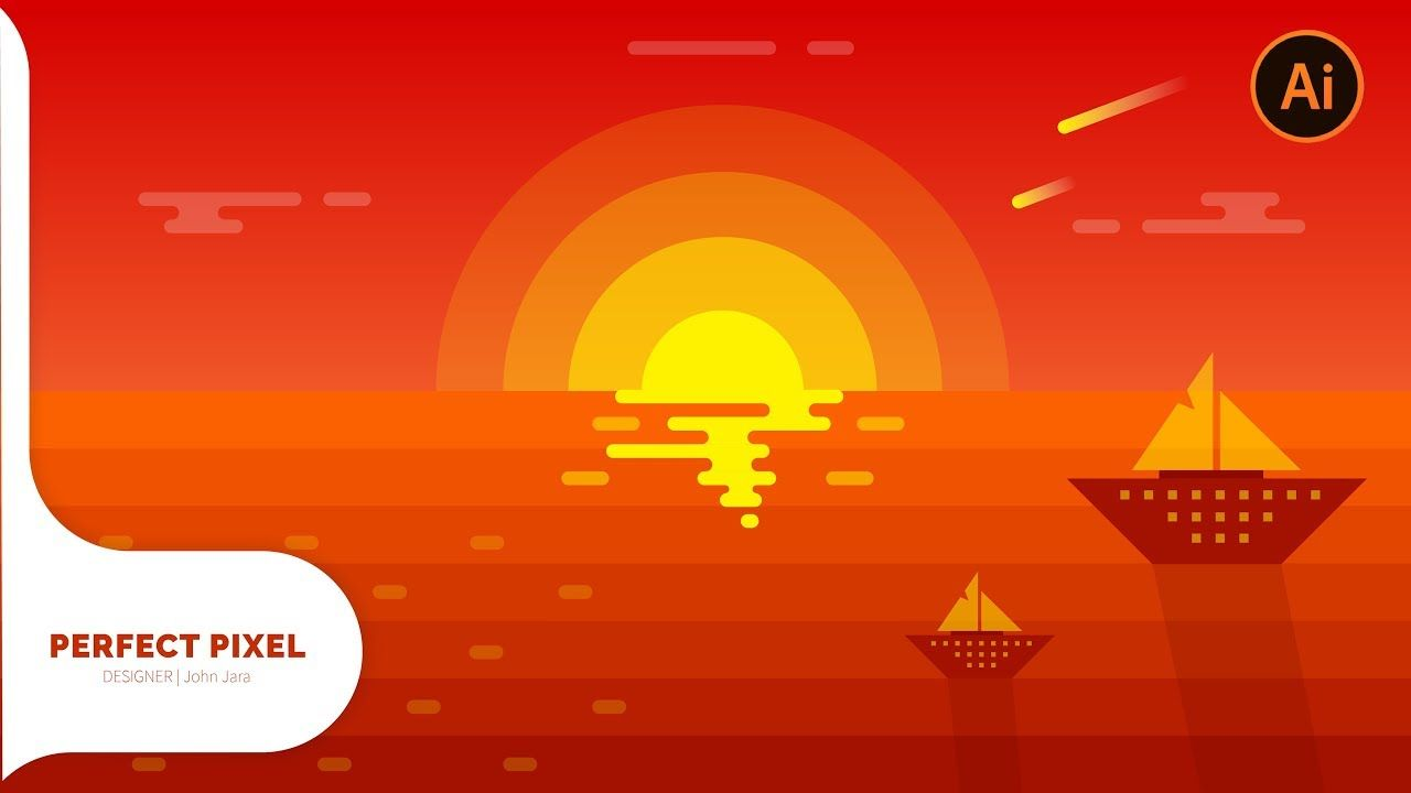 Illustrator Tutorials Sunset Scenery Illustrator Tutorials Adobe Illustrator Graphic Design Graphic Design Tutorials
