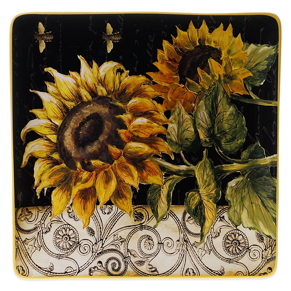 Certified international parisian fruit canister by susan winget set - Certified International French Sunflower 14 5 Inch Square Platter