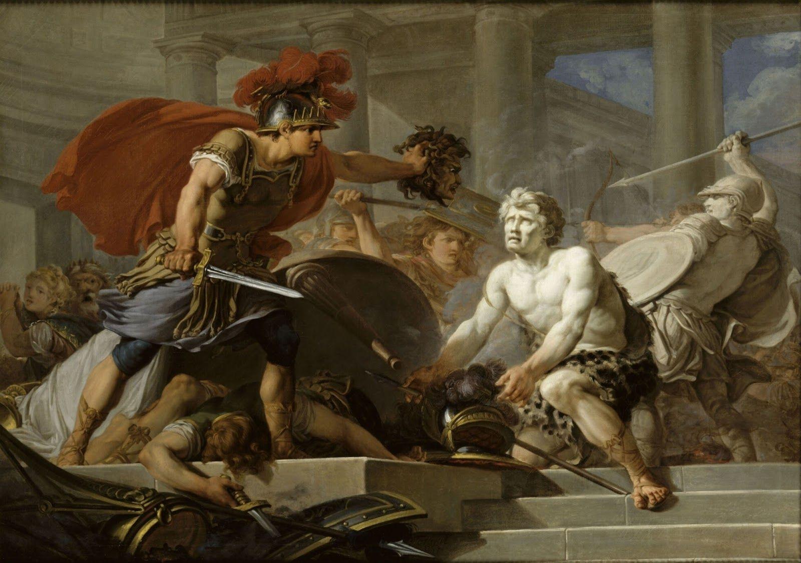 Perseo Convirtiendo En Piedra A Fineas Y Sus Seguidores Jean Hugues Taraval 1767 Mitología Mitos Monstruos