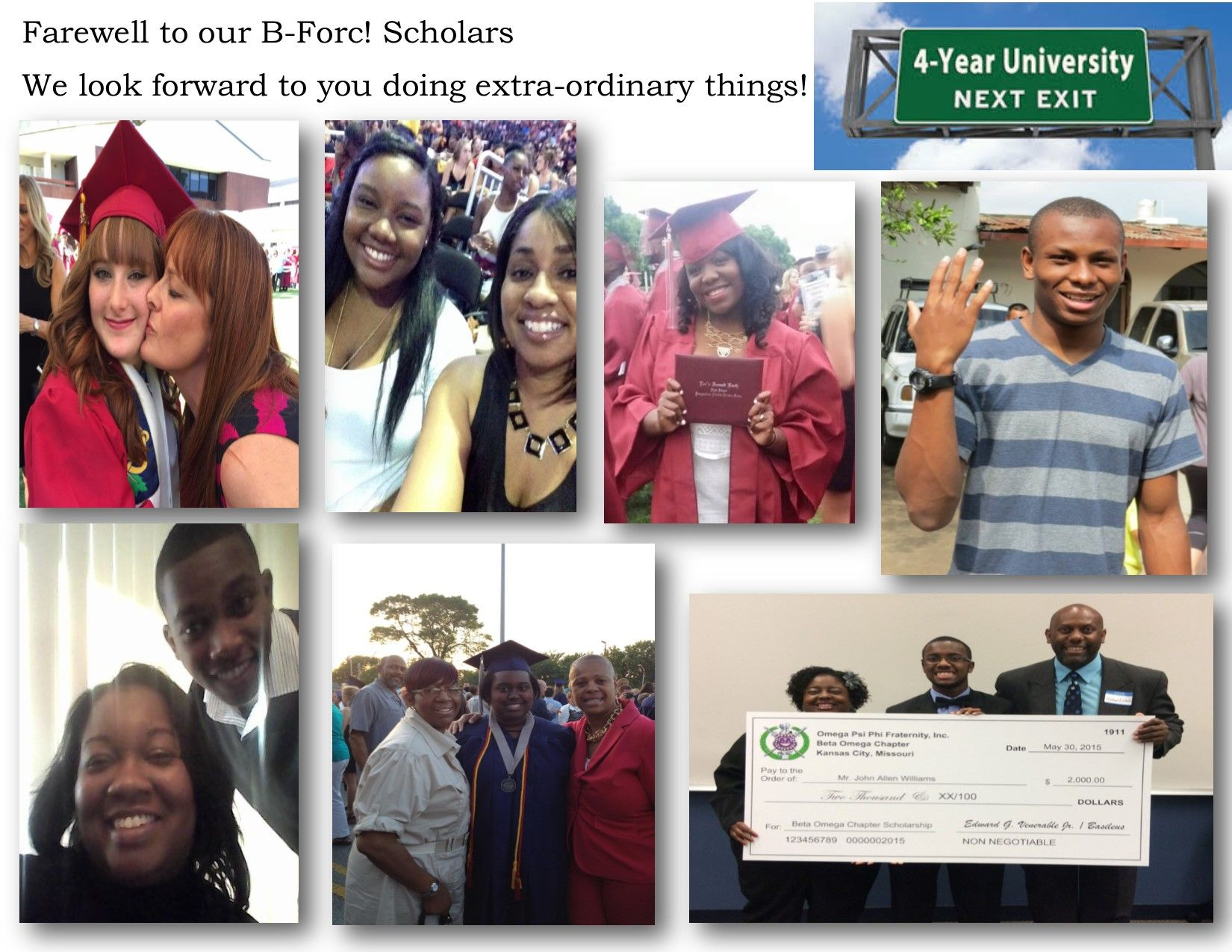 2015 B-Forc! Scholars heading off to #college.They're not just going they are going as #Scholarship #winners.Just know before the journey begins we are B-Forc! Proud of each of you. #NoStudentLoans and B-Focused!  Aspiring nurses, material physicist/engineer, attorney, business major, the arts and a doctor...WOW!