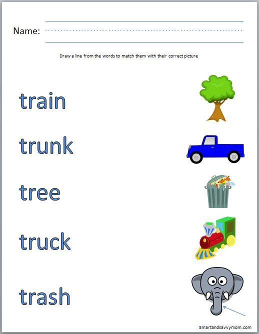 tr consonant blend phonics worksheet match the words with the – Free Printable Worksheets for Kindergarten Phonics