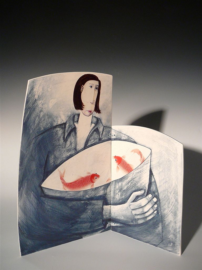 'Releasing the fish girl' porcelain diptych