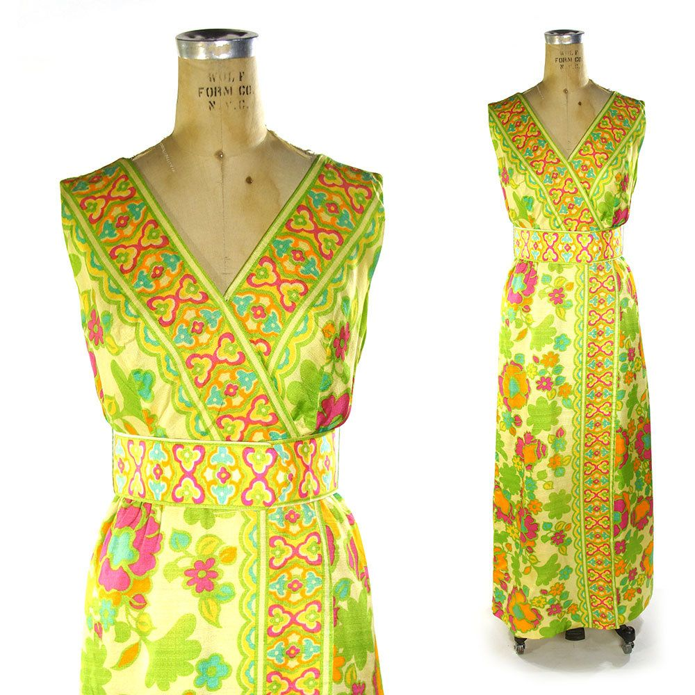 60s Hostess Maxi Dress / Vintage 1960s Hippie Psychedelic