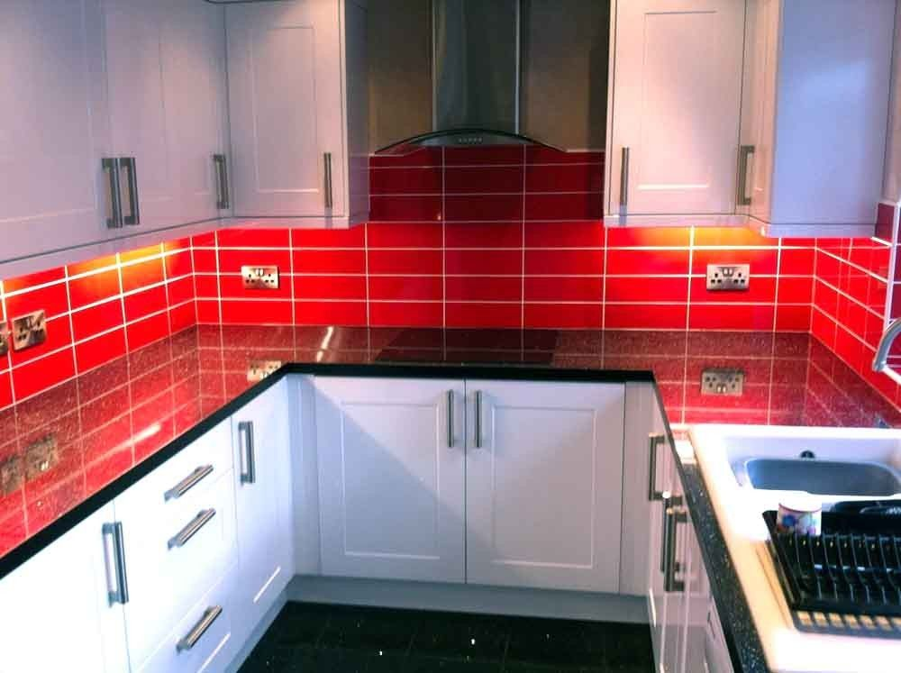 brillo liso fuego red kitchen wall tiles kitchen wall