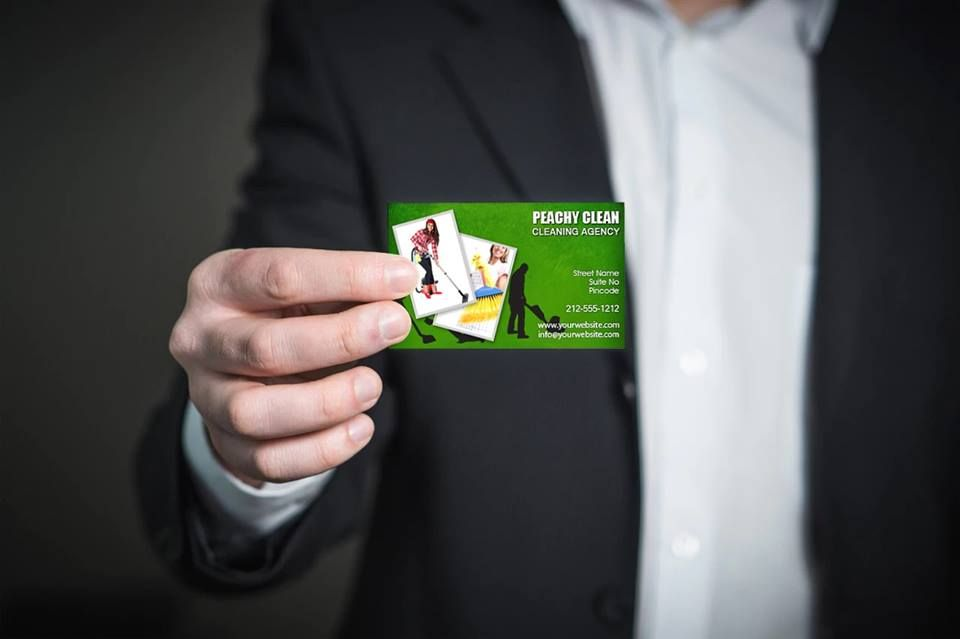 2x35 custom cleaners business card 20 mil round