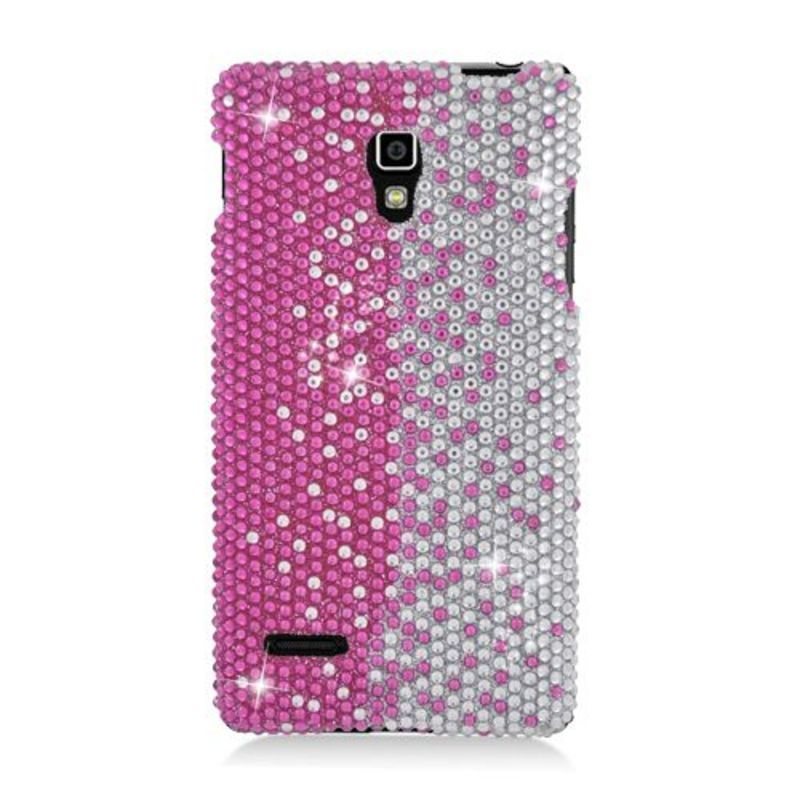 Insten Hot / Silver Hard Snap-on Rhinestone Bling Case Cover For LG Optimus L9 P769