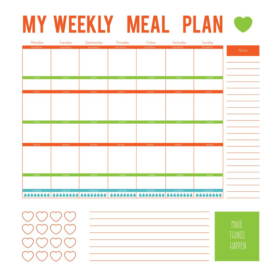 Weekly Meal Planner Template With Food Groups: Pin On Binge Eating