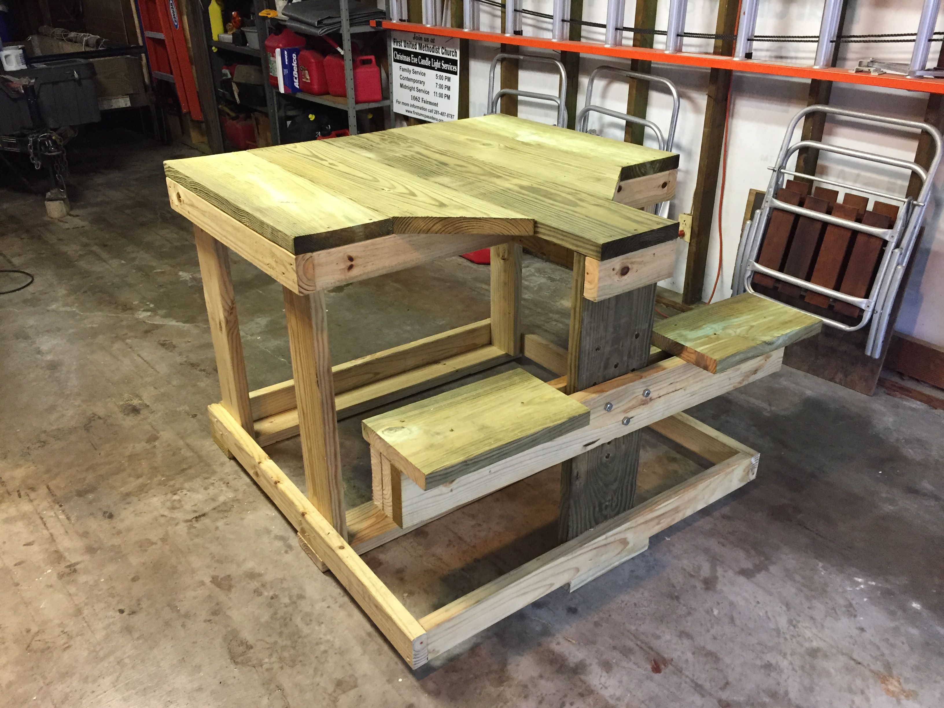 48 X 48 X 36 Tall Treated Lumber Shooting Bench With Adjustable Seat Height Bottom Runners Are Sacrificial To Be Replaced Shooting Bench Seating Home Decor