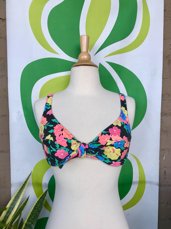 d32af2d06a7 Vintage 1990s black neon floral bow tie bikini top retro 80s 90s swimsuit  top crop top tropical floral print bathing suit top XXS/XS A cup