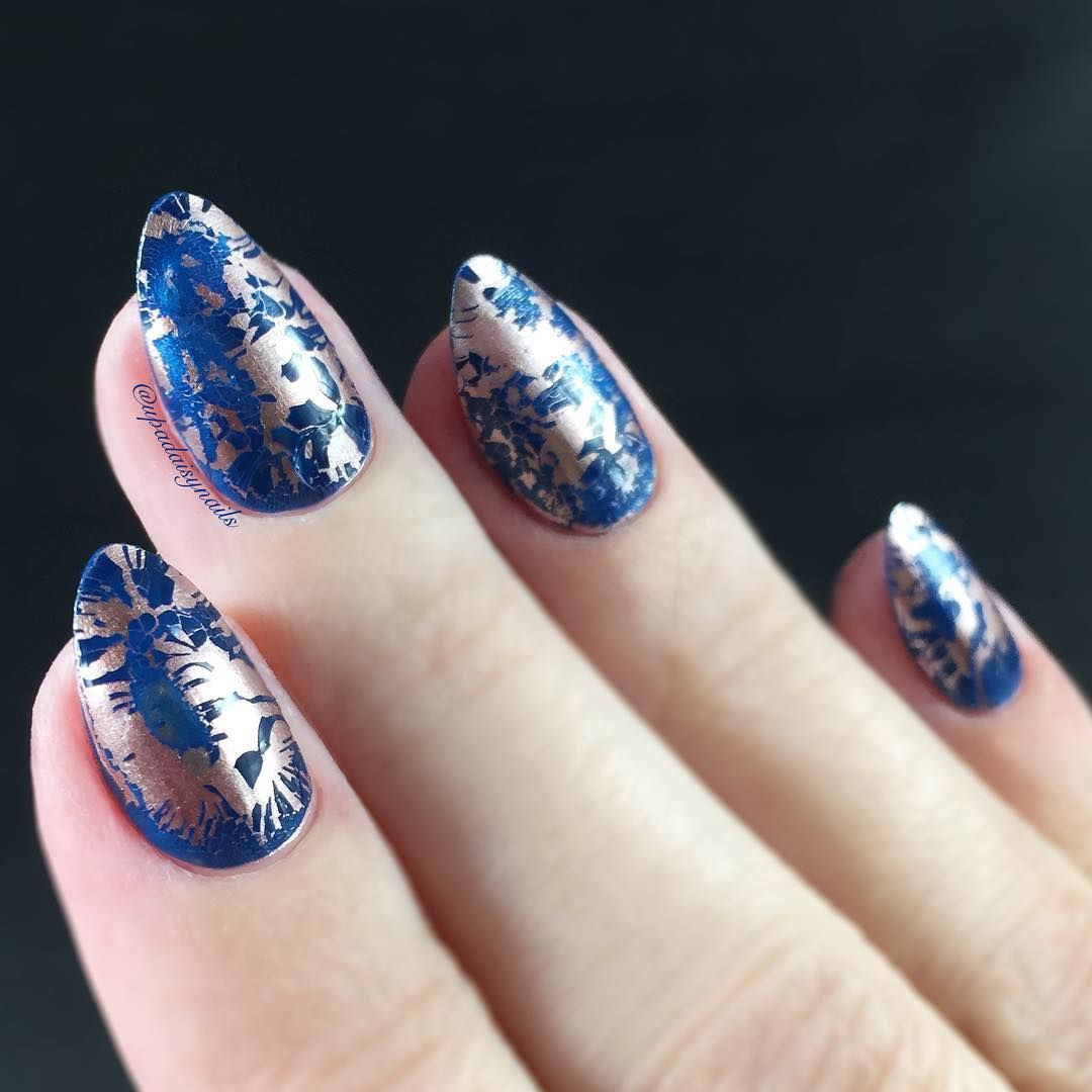 Petrol Blue - cracked marble gel - image by Upadaisynails Using as ...