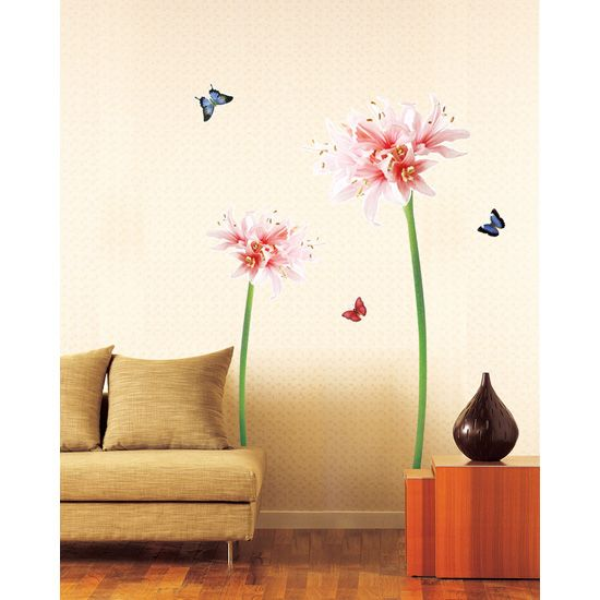 Giant Pink Lily Flowers Butterflies Wall Stickers