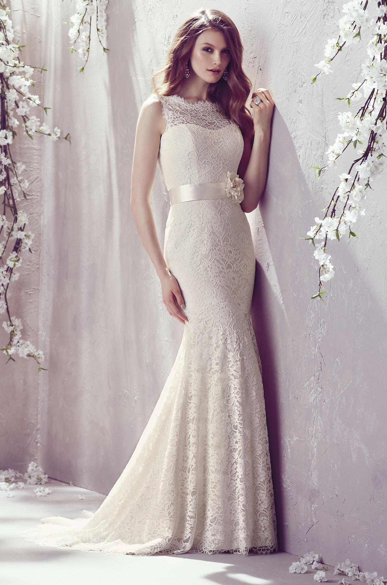 Lace Neckline Wedding Dress - Style #1802 | Mikaella bridal, Lace ...