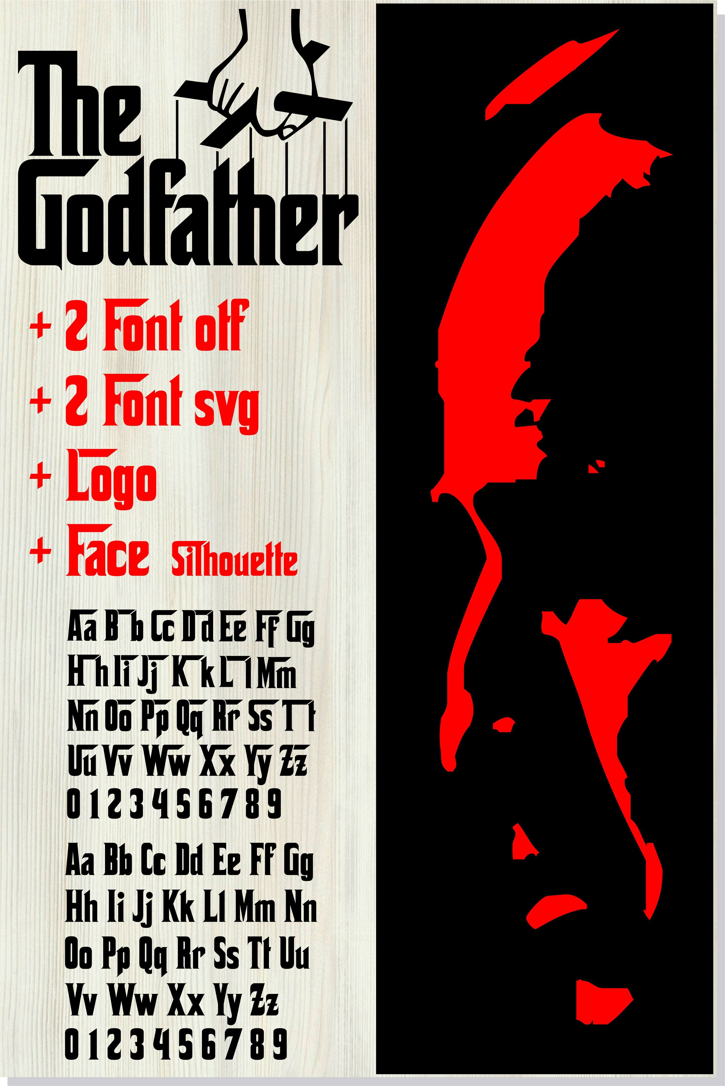 Godfather Bundle Godfather Font Svg Godfather Font Otf Godfather Logo Godfather Face Silhouette Svg Otf Png Eps Dxf The Godfather Silhouette Svg Logo Face