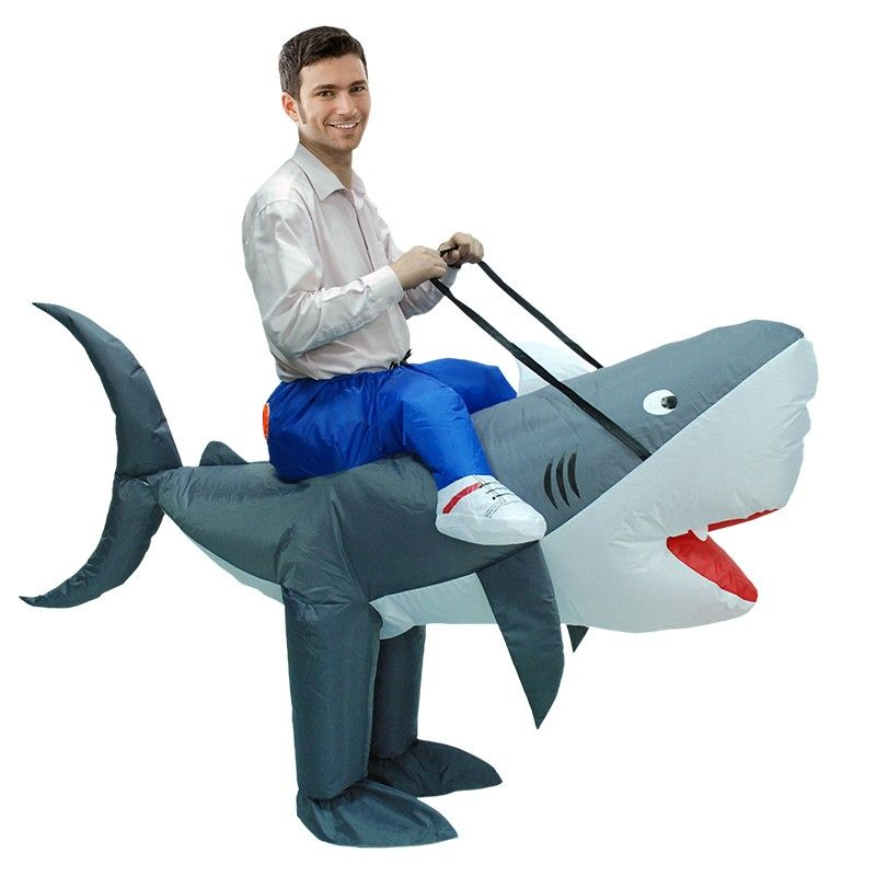Inflatable Shark Costume Adult//Kid Blow Up Suit Carnival Fancy Dress Cosplay