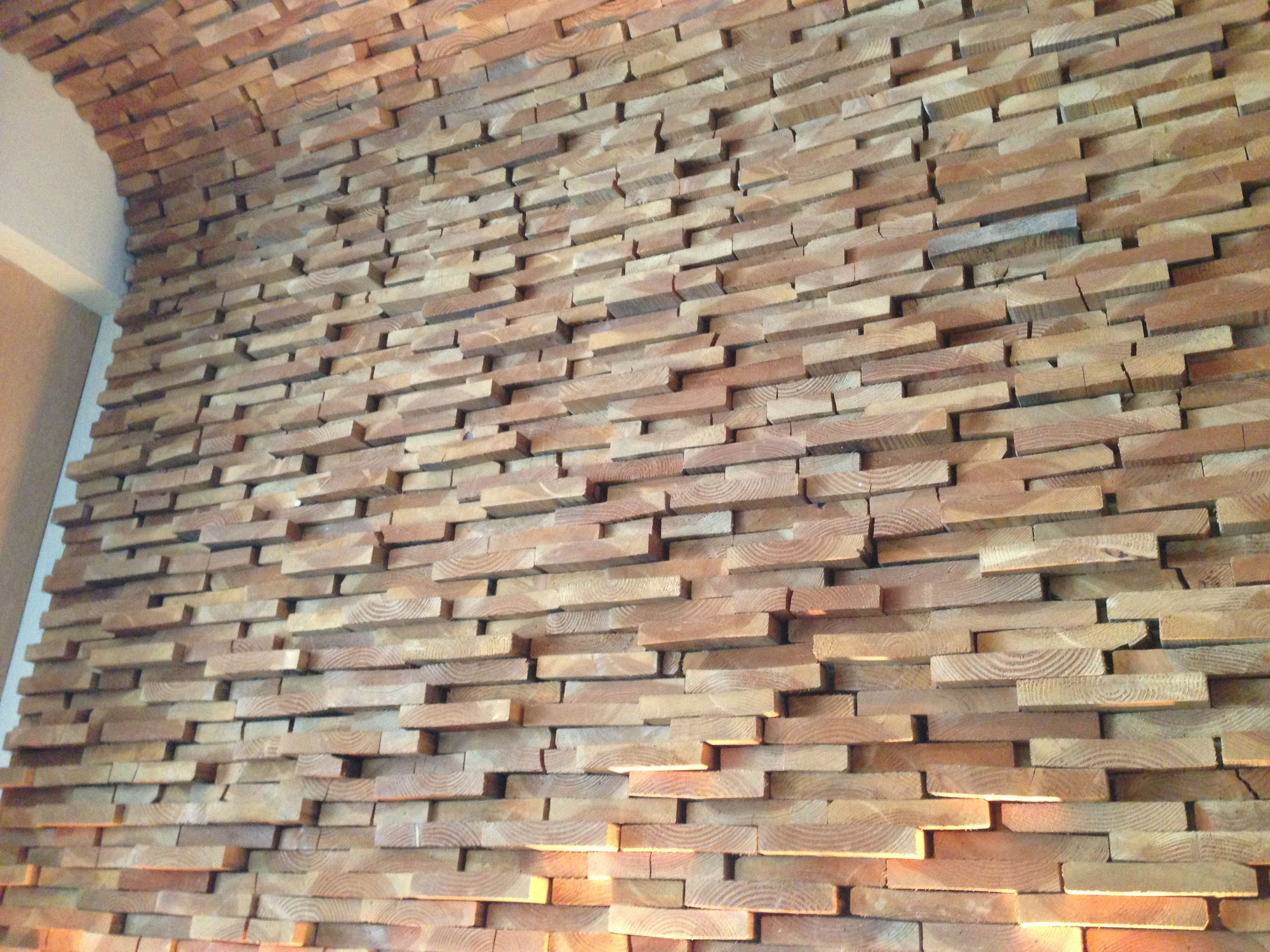 Rough Wood Walls Made From The Ends Of 2x4 2x6 Etc Wood Wall Design Wood Wall End Grain Flooring