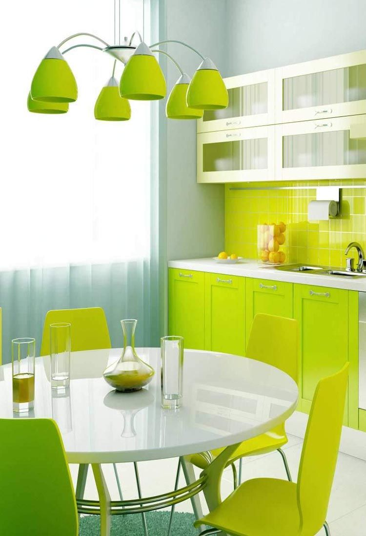 Beautiful Yellow Green Kitchen Interior Lime Designs