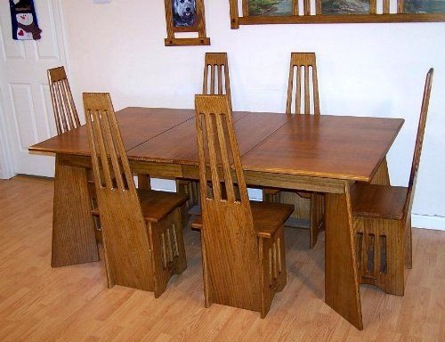 Arts Crafts Mission Quarter Sawn Oak Extension Table Chair Dining