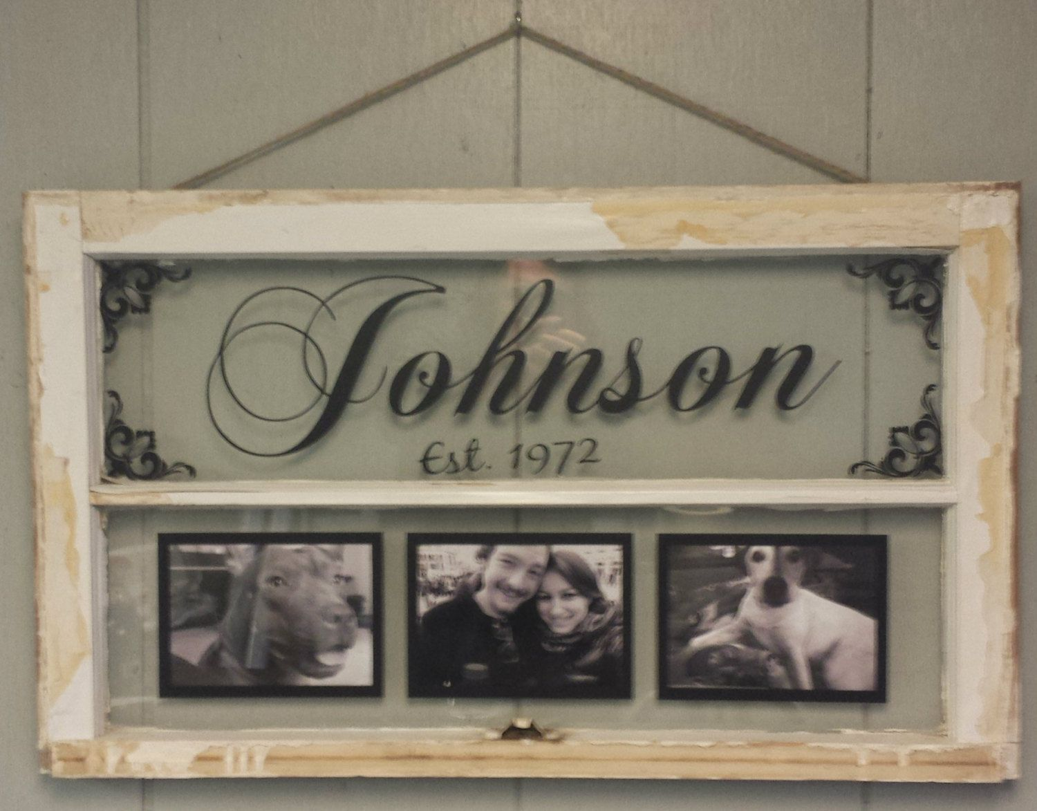 Vintage Window Two Pane Family Name Personalized Picture Frames ...