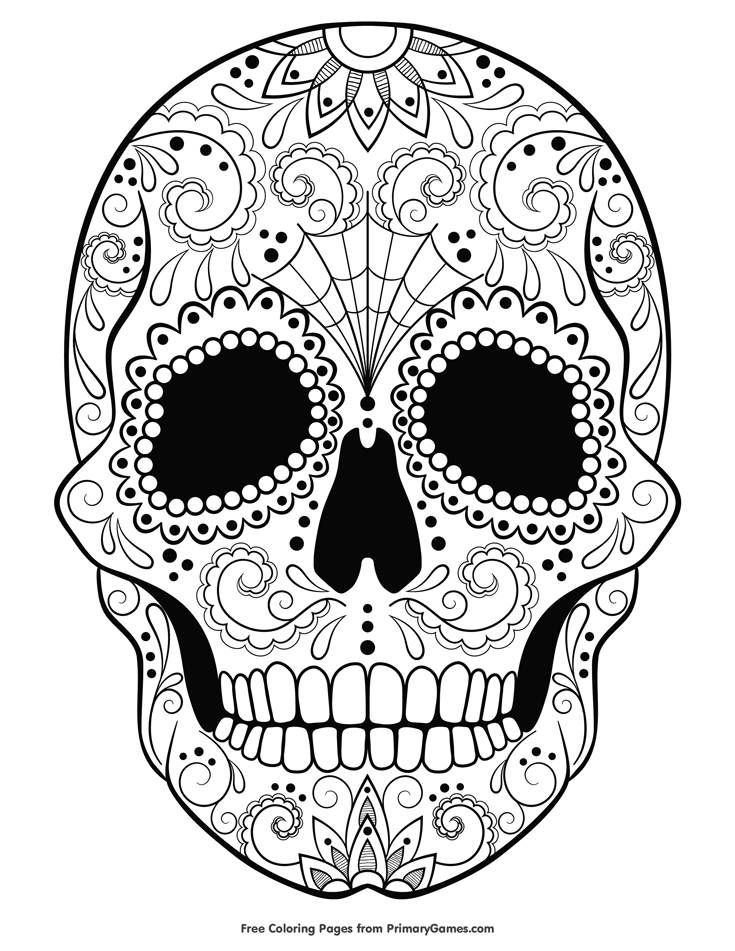 Halloween Coloring Pages eBook: Sugar Skull #halloweencoloringpages
