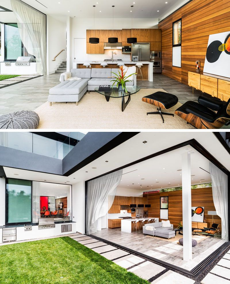 This Kitchen And Living Room Open Up To A Grassy Area With An Outdoor Barbecue Area Rooftop Design Interior Design Degree Terrace Design