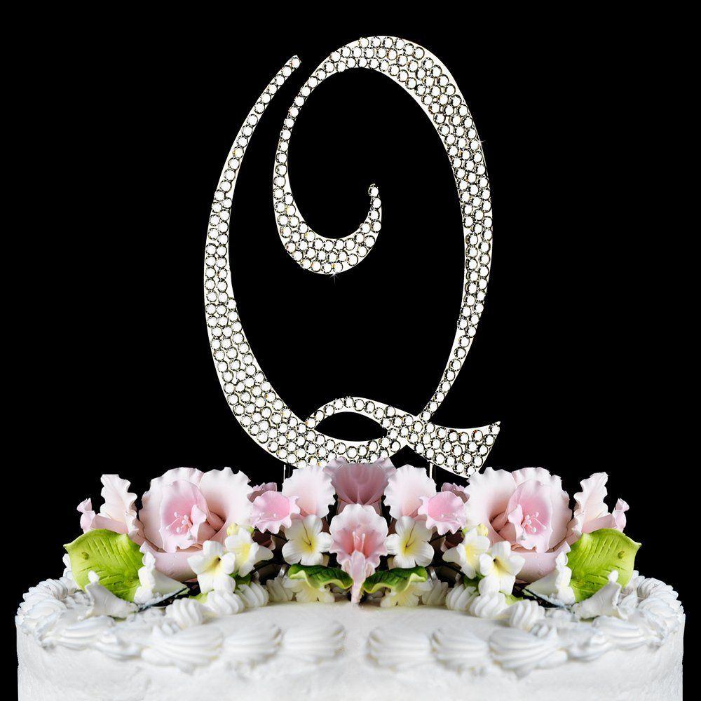 Superior Completely Covered Swarovski Crystal Silver Wedding Cake Toppers ~ LARGE Monogram  Letter Q    Find