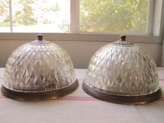 Pair of deco ceiling lights antique flush mount ceiling fixture pair of deco ceiling lights antique flush mount ceiling fixture clear glass domes diamond cut crystal aloadofball Gallery