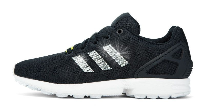 2017 glitter kicks Adidas ZX Flux Crystallized Swarovski 3 Stripe Black  White f1b20298fe0e