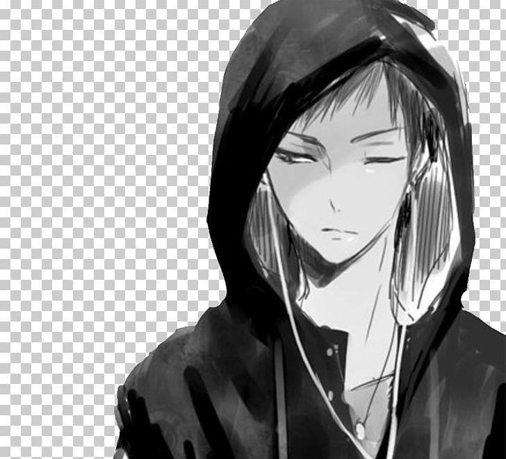 Anime hoodie drawing male png anime art artwork black