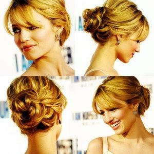 Curly Low Bun Updo Short Bangs Or Long Bangs Pinned Aside Hair Styles Hair Updos Bridesmaid Hair