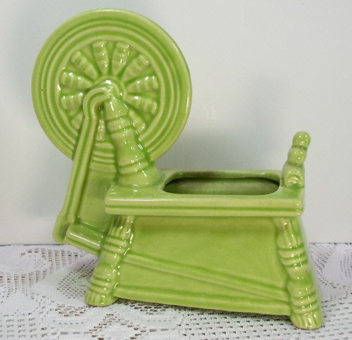 Delightful Sleeping Beauty   Only One   Create A Centerpiece For Your Entrance Table    Vintage McCoy Art Pottery Lime Green Spinning Wheel Planter Flower Pot  Classic. Awesome Ideas