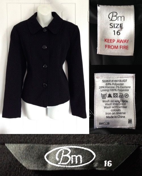 c47907703 2000's BM COLLECTION BON MARCHE Black Smart Short Fitted Panelled ...