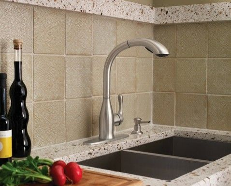 Moen Varese Spot resist stainless one-handle high arc pullout ...