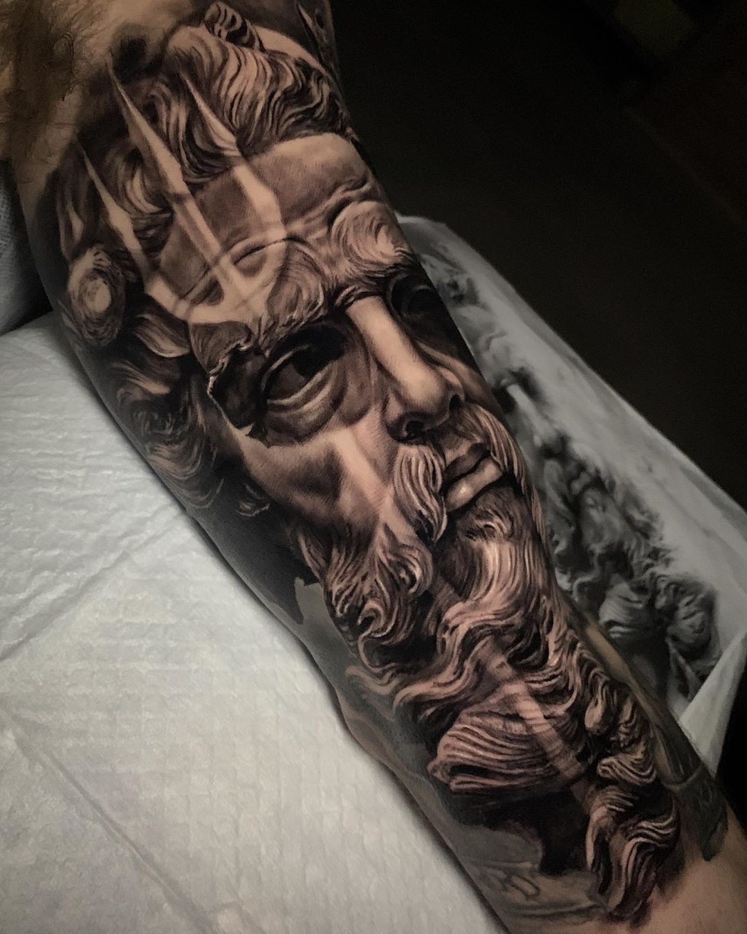 Poseidon Artist Dylanwebertattoos Follow Skingiants For Daily Tattoo Greek Tattoos Mythology Tattoos Poseidon Tattoo