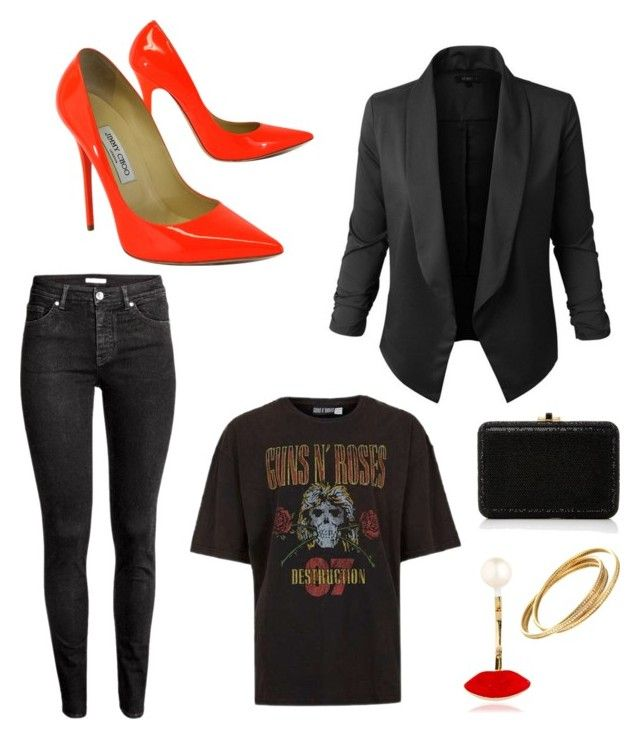 """""""Rock glam"""" by angelhope87 on Polyvore featuring Jupe de Abby, H&M, Jimmy Choo, Judith Leiber and Delfina Delettrez"""
