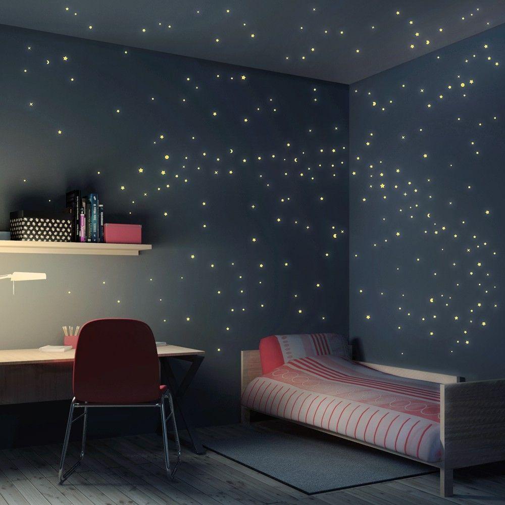 Wandtattoo Kinderzimmer Sternenhimmel 250er Set Weltraum Schlafzimmer Schlafzimmer Themen Wandtattoo Kinderzimmer