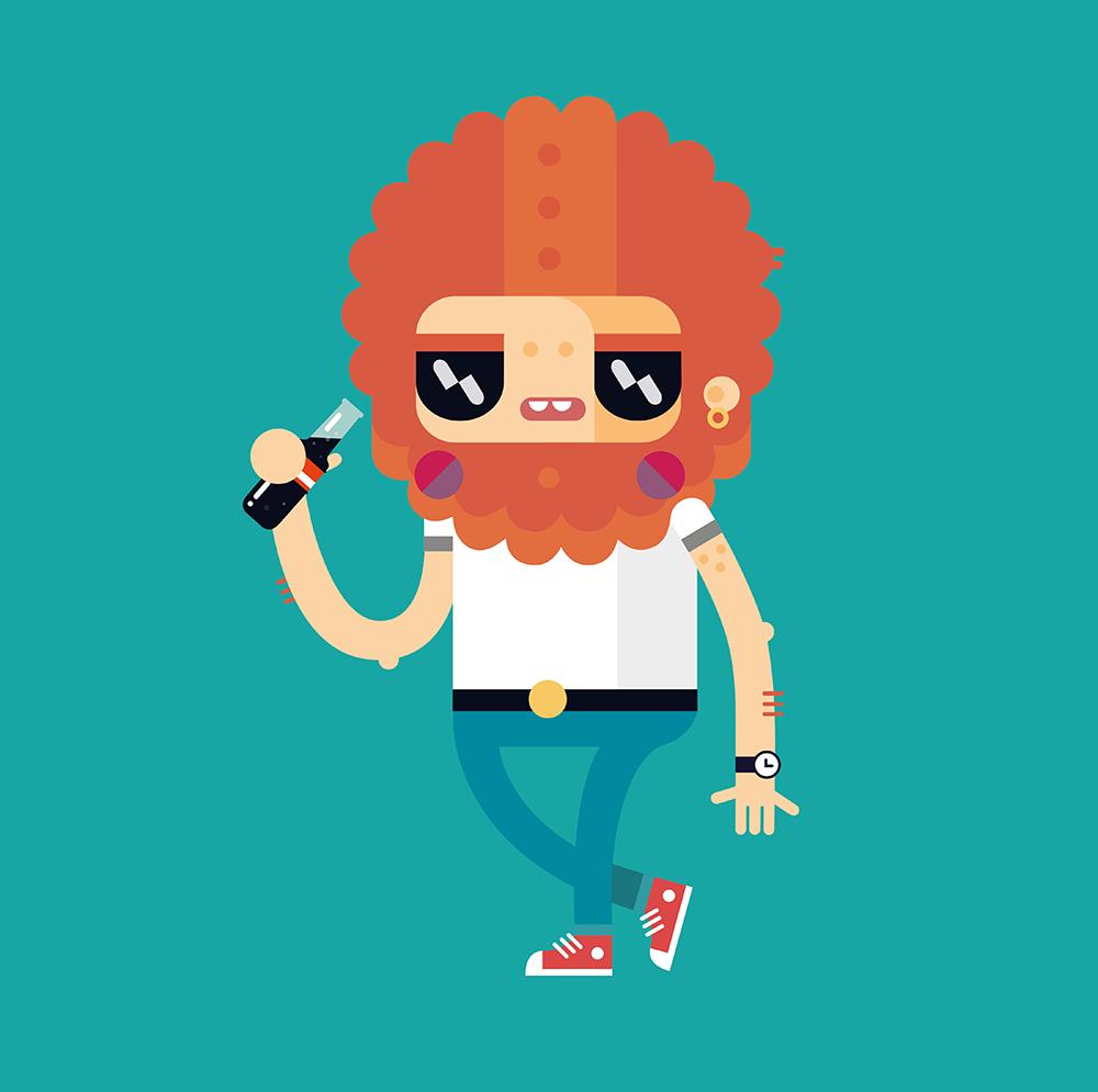 Graphic Design Cartoon Character : Alphawham illustration flat d vector character