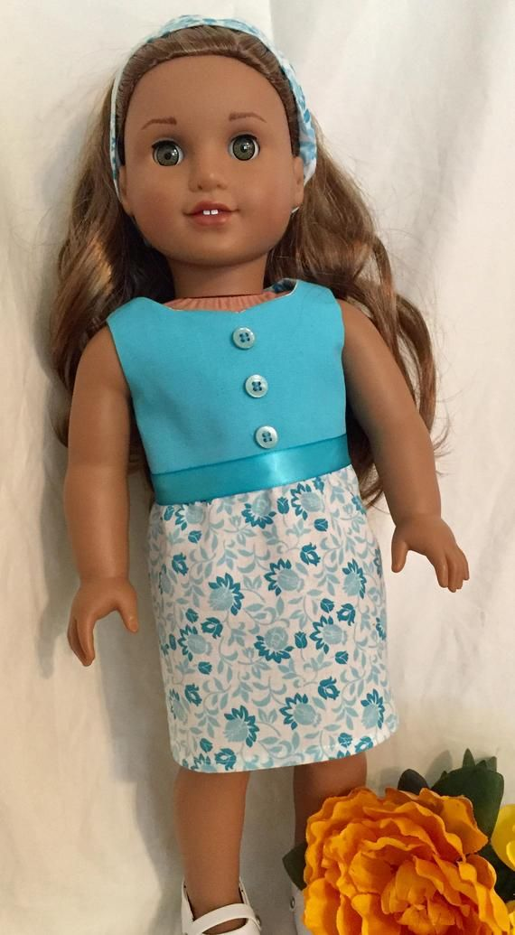 """Teal Flowered Spring Dress for 18/"""" American Girl Doll Clothes"""
