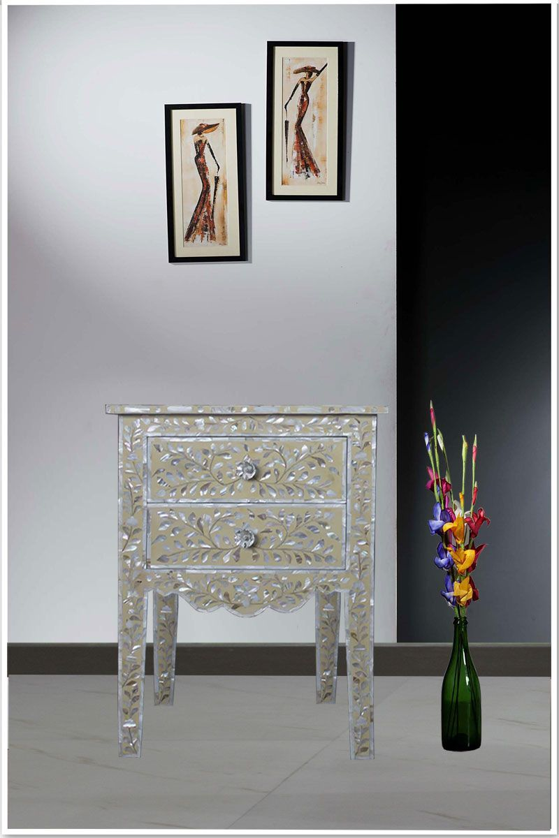 Furniture Store Cream Mother Of Pearl Inlay Two Drawer Side Table
