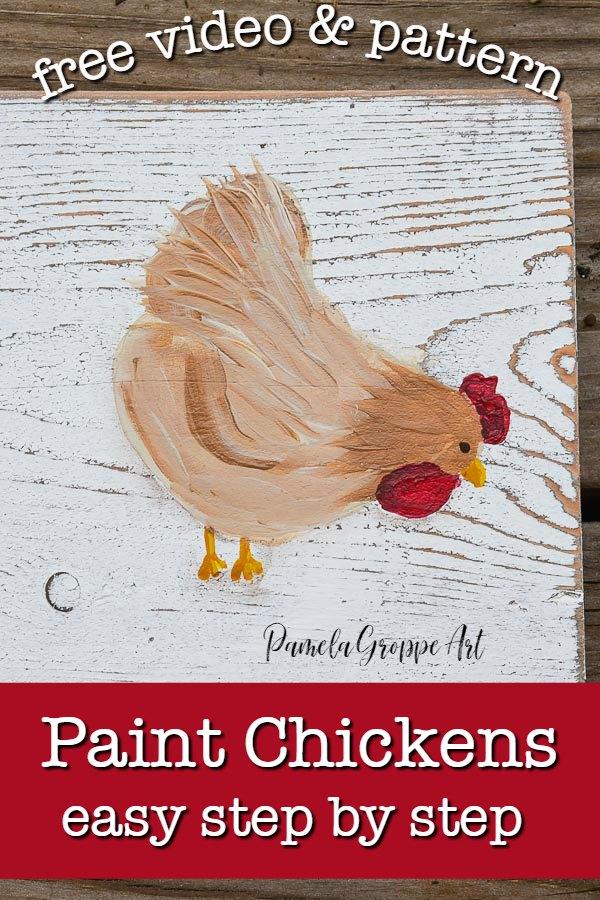 easy Paint Chickens in acrylics - Pamela Groppe Art