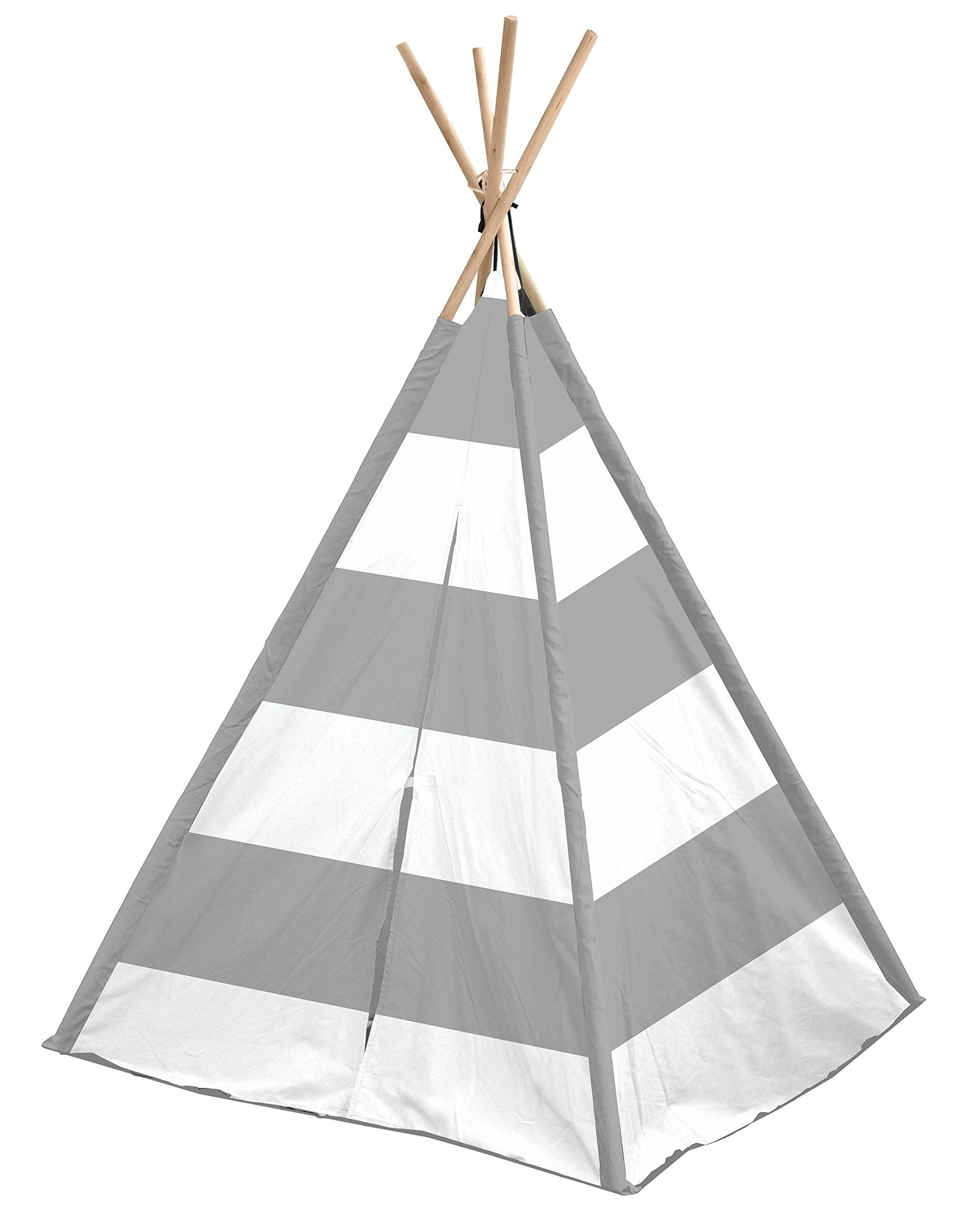 Heritage Kids Nk639570 Stripe Play Tent, Grey And White